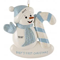Image for Snow Baby Candy Cane Boy Personalized Christmas Ornament