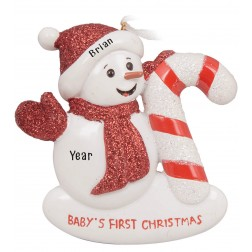 Image of Snow Baby Candy Cane Personalized Christmas Ornament