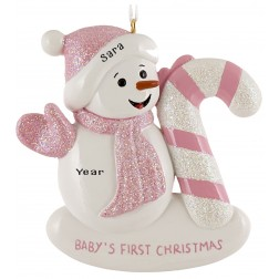Image of Snow Baby Candy Cane Girl Personalized Christmas Ornament
