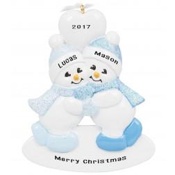 Twins Snowman Boy-Boy Personalized Christmas Ornament