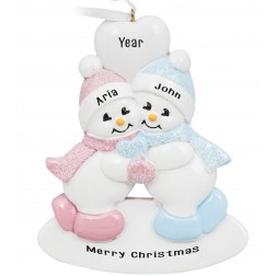 Image of Twins Snowman Boy-Girl Personalized Christmas Ornament