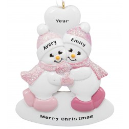 Image of Twins Snowman Girl-Girl Personalized Christmas Ornament