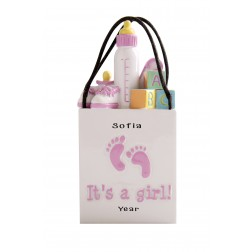 Image of 3D Shopping Bags Baby Pink Personalized Christmas Ornament