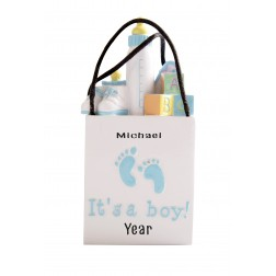 Image of 3D Shopping Bags Baby Blue Personalized Christmas Ornament