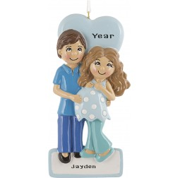 Image of Expecting Couple Blue Personalized Christmas Ornament