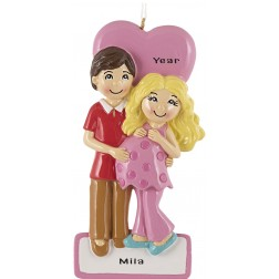 Image of Expecting Couple Pink Personalized Christmas Ornament