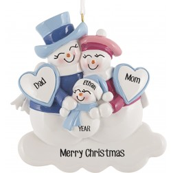 Image of Snowman Family With New Baby Blue Personalized Christmas Ornament