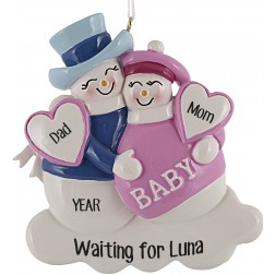 Expecting Snowman Pink Personalized Christmas Ornament