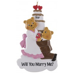 Image of Proposal Bear with Ring Personalized Christmas Ornament