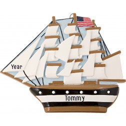 Image of USS Constitution Personalized Christmas Ornament