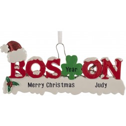 Image of Boston Word Personalized Christmas Ornament