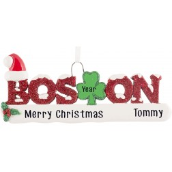 Image of Boston Word Glittered Personalized Christmas Ornament