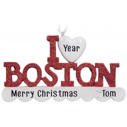 Image of I Love Boston Personalized Christmas Ornament