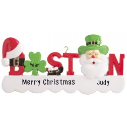 Image of Boston Word Santa Personalized Christmas Ornament