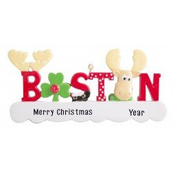 Image of Boston Word Moose Personalized Christmas Ornament