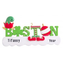 Image of Boston Word Elf Personalized Christmas Ornament