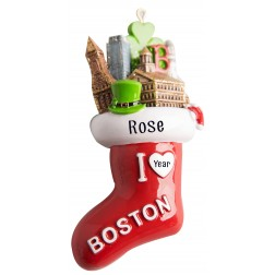 Image of Boston Stocking 3D Personalized Christmas Ornament