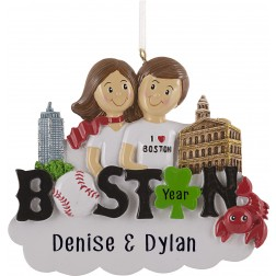 Image of Boston Couple Personalized Christmas Ornament