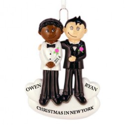 Gay Couple Personalized Christmas Ornament