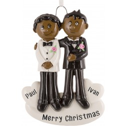 Image of Gay Couple Black & Black Personalized Christmas Ornament