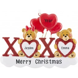 Image of Xoxo Bear Love Personalized Christmas Ornament