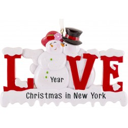 Image of Snowman Love Letter Personalized Christmas Ornament