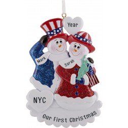 Image of Patriotic Snowman Couple Personalized Christmas Ornament