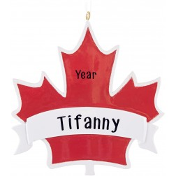Image of Maple Leaf Canada Personalized Christmas Ornament