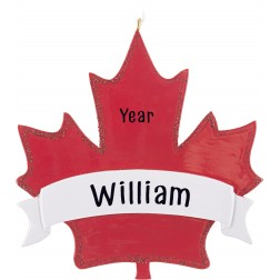 Image of Maple Leaf 1 Canada Personalized Christmas Ornament