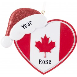 Image of Canadian Flag With Heart Glitter Hat Personalized Christmas Ornament