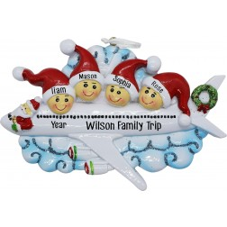 Image of Christmas Airline Family of 4 Personalized Christmas Ornament