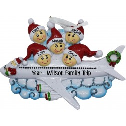 Image of Christmas Airline Family of 5 Personalized Christmas Ornament