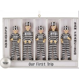 Image of Prisoner Of Alcatraz Family of 5 Personalized Christmas Ornament