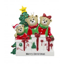 Image of Bear Love Family of 3 Personalized Christmas Ornament