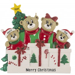 Image of Bear Love Family of 4 Personalized Christmas Ornament