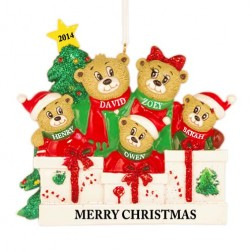 Bear Love Family of 5 Personalized Christmas Ornament