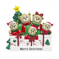 Image for Bear Love Family of 5 Personalized Christmas Ornament