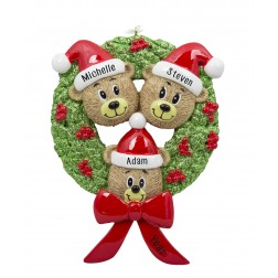 Image of Bear Wreath Family of 3 Personalized Christmas Ornament