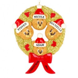 Bear Wreath Family of 4 Personalized Christmas Ornament