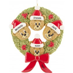 Image for Bear Wreath Family of 4 Personalized Christmas Ornament