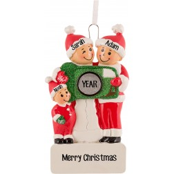 Image of Camera Family of 3 Personalized Christmas Ornament