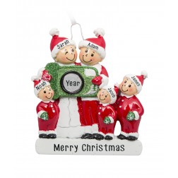 Image for Camera Family of 5 Personalized Christmas Ornament