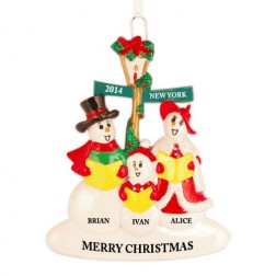 Snowman Caroler Family of 3 Personalized Christmas Ornament