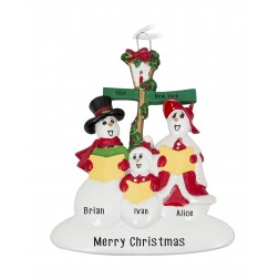 Image of Snowman Caroler Family of 3 Personalized Christmas Ornament