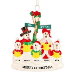 Snowman Caroler Family of 5 Personalized Christmas Ornament