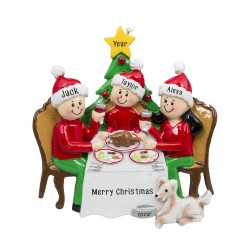 Image of Christmas Dinner Family of 3 Personalized Christmas Ornament