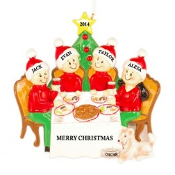Christmas Dinner Family of 4 Personalized Christmas Ornament