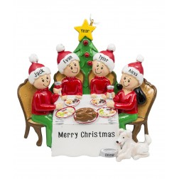 Image for Christmas Dinner Family of 4 Personalized Christmas Ornament