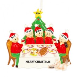 Christmas Dinner Family of 5 Personalized Christmas Ornament