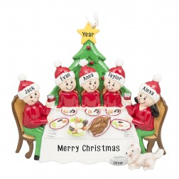 Image for Christmas Dinner Family of 5 Personalized Christmas Ornament